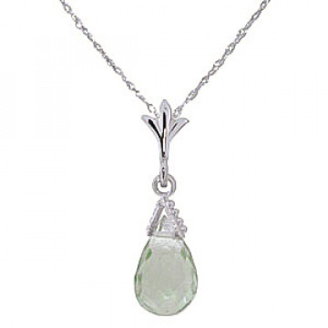 Green Amethyst Droplet Pendant Necklace 2.5 ct in 9ct White Gold