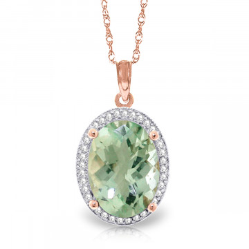 Green Amethyst Halo Pendant Necklace 5.08 ctw in 9ct Rose Gold