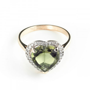 Green Amethyst Halo Ring 3.24 ctw in 9ct Rose Gold