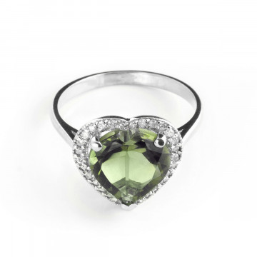 Green Amethyst Halo Ring 3.24 ctw in Sterling Silver