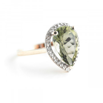 Green Amethyst Halo Ring 3.41 ctw in 9ct Rose Gold