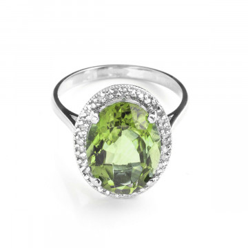 Green Amethyst Halo Ring 5.28 ctw in Sterling Silver