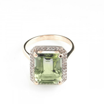 Green Amethyst Halo Ring 5.8 ctw in 9ct Rose Gold
