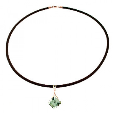 Green Amethyst Leather Pendant Necklace 8.76 ctw in 9ct Rose Gold