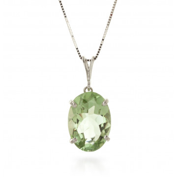 Green Amethyst Oval Pendant Necklace 7.55 ct in 9ct White Gold