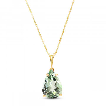 Green Amethyst Pear Drop Pendant Necklace 5 ct in 9ct Gold