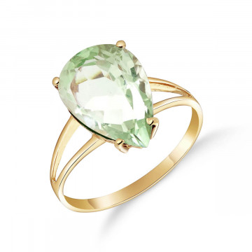 Green Amethyst Pear Drop Ring 5 ct in 9ct Gold