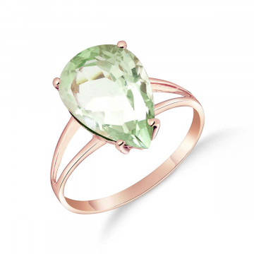 Green Amethyst Pear Drop Ring 5 ct in 9ct Rose Gold