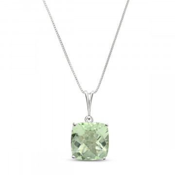 Green Amethyst Rococo Pendant Necklace 3.6 ct in 9ct White Gold