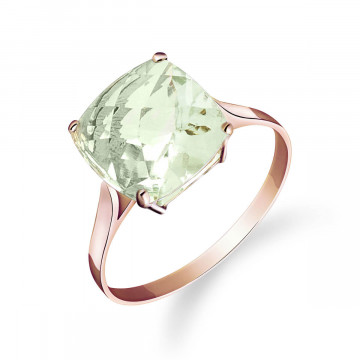 Green Amethyst Rococo Ring 3.6 ct in 9ct Rose Gold