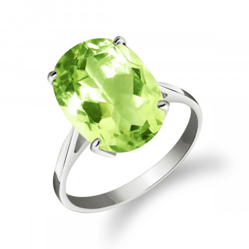 Green Amethyst Valiant Ring 7.55 ct in 9ct White Gold
