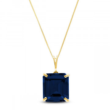 Octagon Cut Sapphire Pendant Necklace 7 ct in 9ct Gold