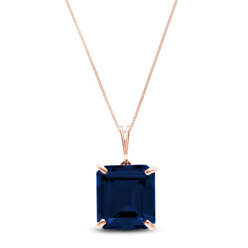 Octagon Cut Sapphire Pendant Necklace 7 ct in 9ct Rose Gold
