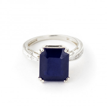 Octagon Cut Sapphire Ring 7.27 ctw in 9ct White Gold