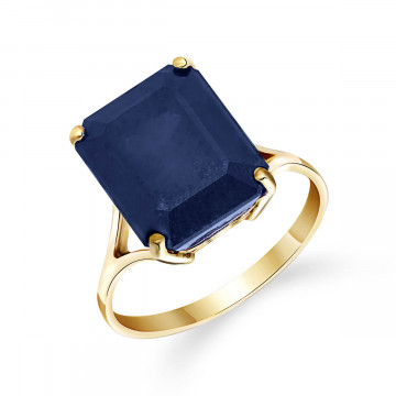 Octagon Cut Sapphire Ring 7 ct in 9ct Gold