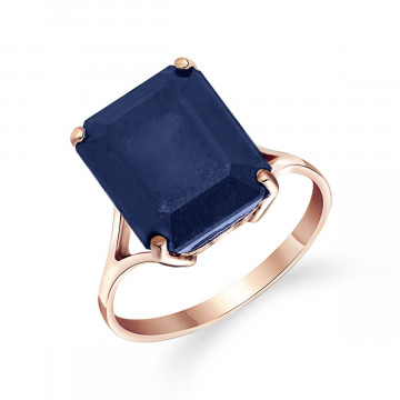 Octagon Cut Sapphire Ring 7 ct in 9ct Rose Gold