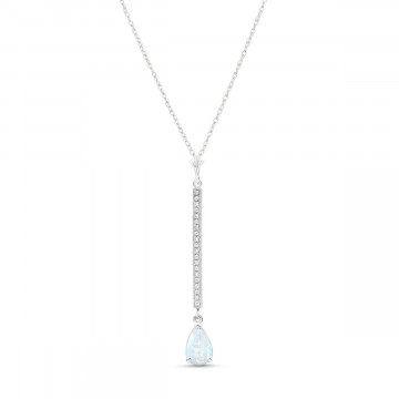 Opal & Diamond Bar Pendant Necklace in 9ct White Gold