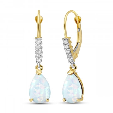 Opal & Diamond Belle Drop Earrings in 9ct Gold