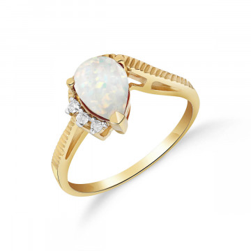 Opal & Diamond Belle Ring in 9ct Gold