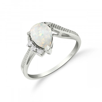 Opal & Diamond Belle Ring in 9ct White Gold