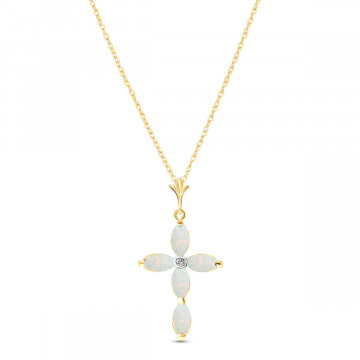 Opal & Diamond Vatican Cross Pendant Necklace in 9ct Gold