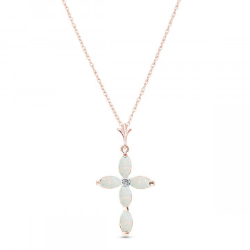 Opal & Diamond Vatican Cross Pendant Necklace in 9ct Rose Gold