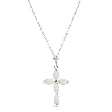 Opal & Diamond Vatican Cross Pendant Necklace in 9ct White Gold