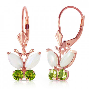 Opal & Peridot Butterfly Drop Earrings in 9ct Rose Gold