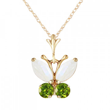 Opal & Peridot Butterfly Pendant Necklace in 9ct Gold