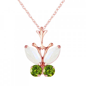 Opal & Peridot Butterfly Pendant Necklace in 9ct Rose Gold