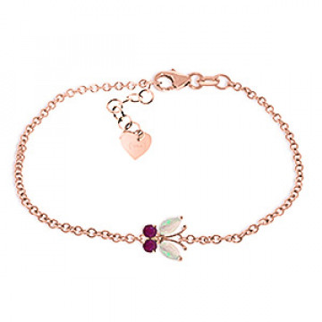 Opal & Ruby Adjustable Butterfly Bracelet in 9ct Rose Gold