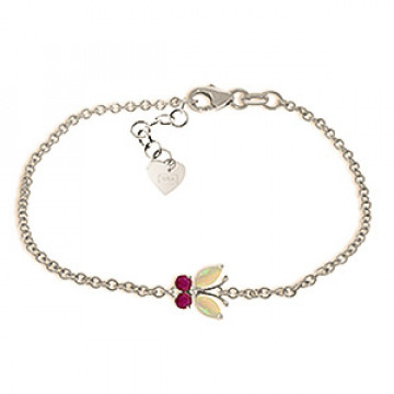Opal & Ruby Adjustable Butterfly Bracelet in 9ct White Gold