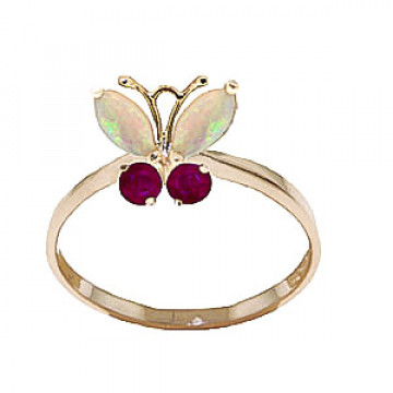 Opal & Ruby Butterfly Ring in 9ct Gold