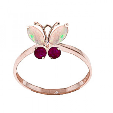 Opal & Ruby Butterfly Ring in 9ct Rose Gold