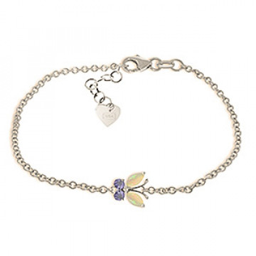 Opal & Tanzanite Adjustable Butterfly Bracelet in 9ct White Gold