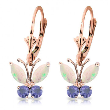 Opal & Tanzanite Butterfly Drop Earrings in 9ct Rose Gold
