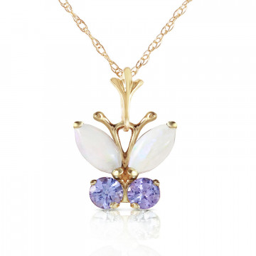 Opal & Tanzanite Butterfly Pendant Necklace in 9ct Gold