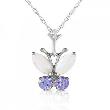 Opal & Tanzanite Butterfly Pendant Necklace in 9ct White Gold