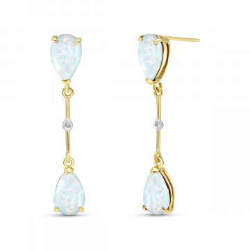 Opal Drop Earrings 3.01 ctw in 9ct Gold