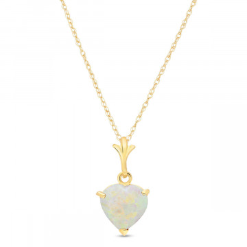 Opal Heart Pendant Necklace 0.65 ct in 9ct Gold