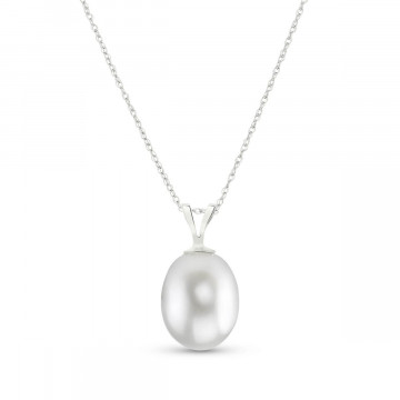 Oval Cut Pearl Pendant Necklace 4 ct in 9ct White Gold