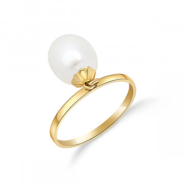 Oval Cut Pearl Ring 4 ct in 9ct Gold