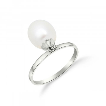 Oval Cut Pearl Ring 4 ct in 9ct White Gold