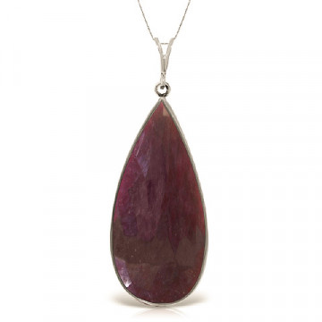 Pear Cut Ruby Pendant Necklace 20 ct in 9ct White Gold