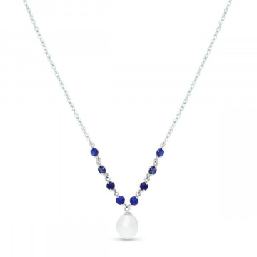 Pearl & Amethyst by the Yard Pendant Necklace in 9ct White Gold