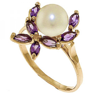 Pearl & Amethyst Ivy Ring in 9ct Gold