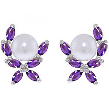 Pearl & Amethyst Ivy Stud Earrings in 9ct White Gold