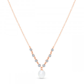 Pearl & Aquamarine by the Yard Pendant Necklace in 9ct Rose Gold