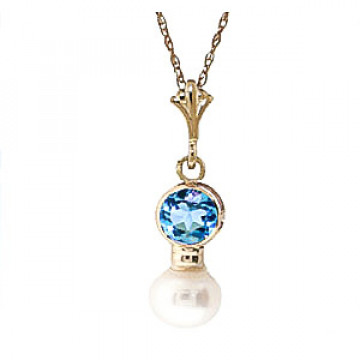 Pearl & Blue Topaz Dazzle Pendant Necklace in 9ct Gold