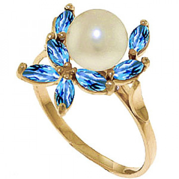 Pearl & Blue Topaz Ivy Ring in 9ct Gold